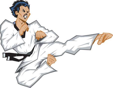 Wild jumping side kick. Vector