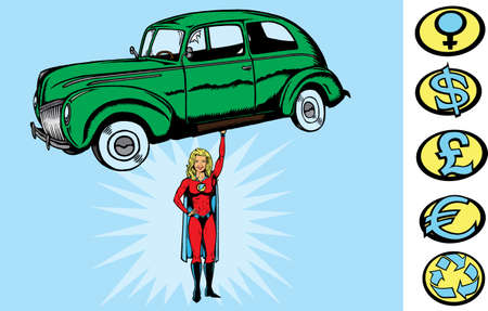 heroism: Supercar girl Illustration