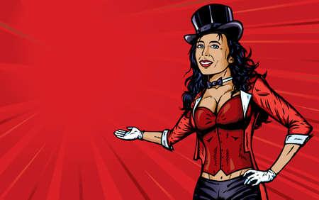 Sexy Circus omroeper met achtergrond Stock Illustratie