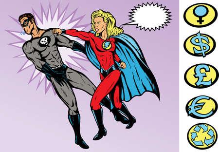 Superheld versus Villain. Beide volledig op afzonderlijke lagen worden getekend, en kunnen worden verplaatst.  Stock Illustratie