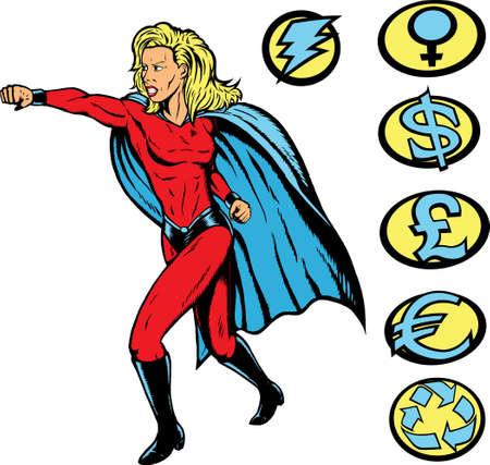 Superheroine, ponsen, en eventuele toppen kunnen worden gebruikt.  Stock Illustratie