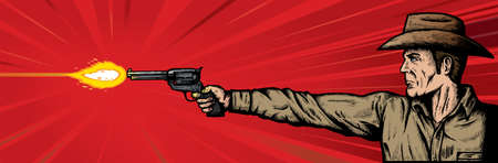 muzzle flash: Gunslinger. flash is on separate layer and can be removed. Illustration