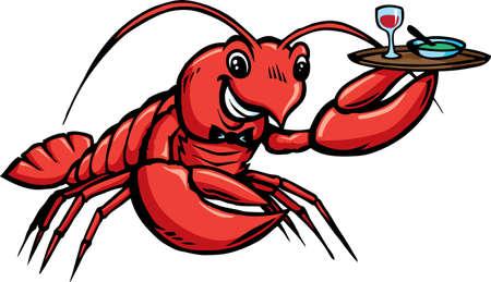 Lobster Waiter Vector