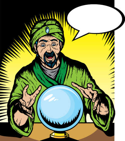 Fortune teller looking into globe.  Globe and guru are on separate layers, and can be removed. Ilustracja