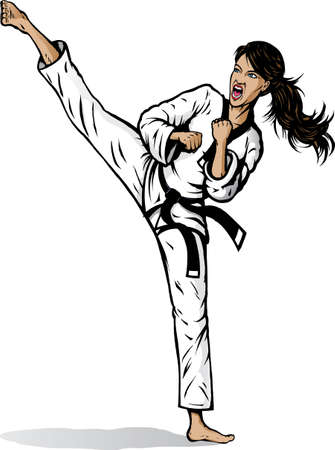 martial arts woman: Drawing of a girl doing a vicious sidekick.