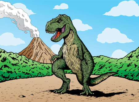 cartoon dinosaur: T-rex is on a separate layer from background and can be easily removed.