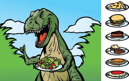 steak plate: Convertirse en un dinosaurio de alimentos veganos, o mostrando los alimentos. Con vectores, la comida est� en una capa separada, as� como la placa y se puede quitar. Otros elementos de los alimentos en el lateral se puede utilizar, o bien, puede ser la celebraci�n de los Dinosaurios cualquier otra cosa. Vectores