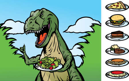 Food dinosaur becoming a vegan, or showing food.  With Vector, food is on a separate layer as well as the plate and can be removed.  Other foods items on the side can be used, or, Dinosaur can be holding anything else.