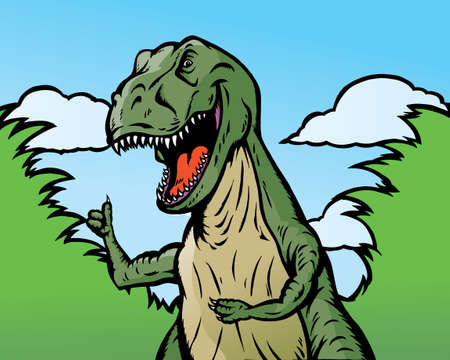 he: Dinosaur giving thumbs up.  He can be holding anything and he is separate from background.