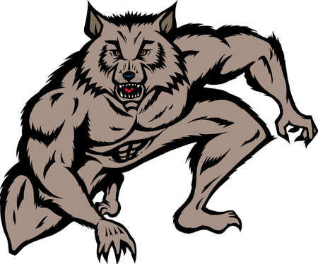 Crouched werewolf ready to attack.  Can be used for mascott or logo. Ilustracja