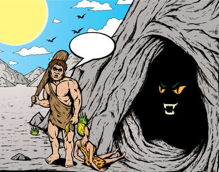 Caveman. With vector, Caveman, girl, ponytail, bubble and shadows are all on separate layers and can be easily removed. Vector