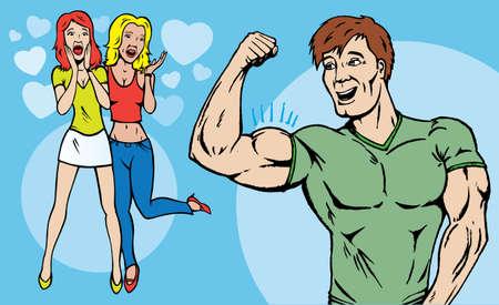 şehvet: Guy showing off while girls look on admiringly.