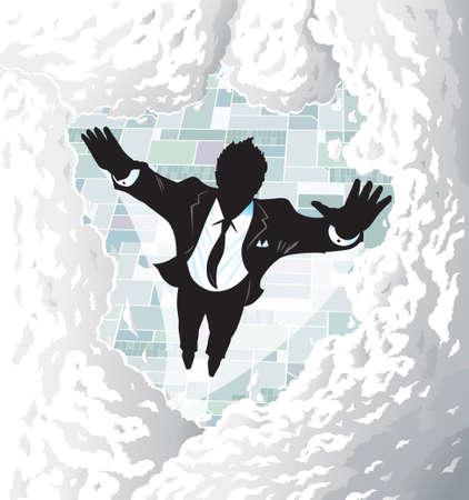 Flying Suitman Stock Illustratie