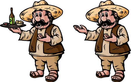 chips and salsa: Waiter Illustration