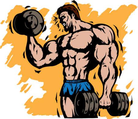 trizeps: Stilisierte bodybuilder Illustration