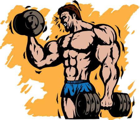 triceps: Stylized bodybuilder Illustration