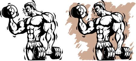 weights: Stilizzato bodybuilder Vettoriali
