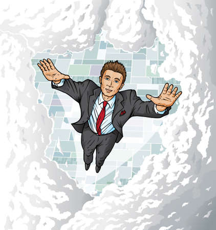 Business man flying high into clouds.  Can be used to show top performance or anything.