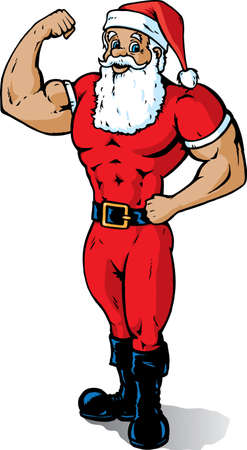 Muscular Santa, showing off his guns and that he is in great shape.