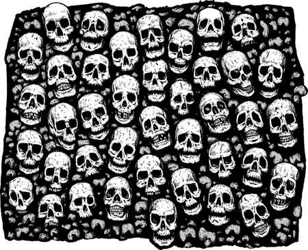 Wall of skulls, great for an eerie background. With vector, skulls are on a separate layer from background, and can be removed. Illustration