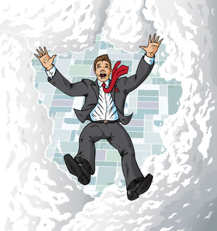Falling suitman in sky Illustration