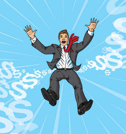 economy crisis: Falling businessman