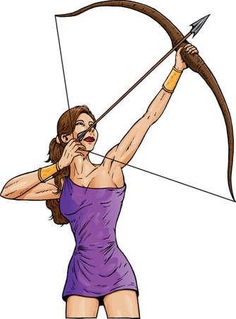 arco y flecha: Archer en una toga. Puede utilizarse para cualquier cosa.  Vectores
