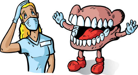 dental hygienist: Big teeth and dentist
