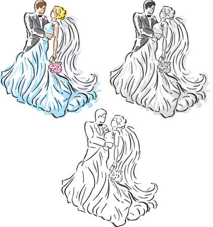 Stylized Wedding couple Иллюстрация