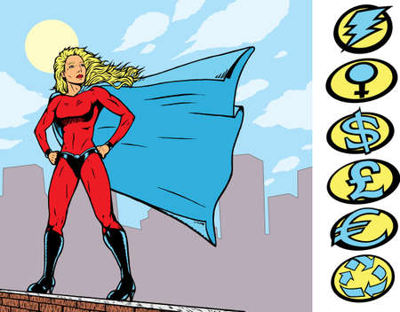 Superheroine standing proudly on top of a building with interchangeable crests. Part of a series.