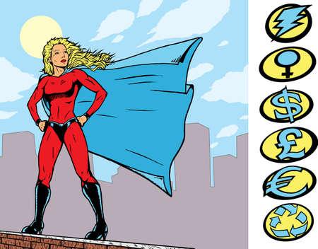Superheroine trots boven op een gebouw met onderling verwisselbaar crests staan. Bij een reeks hoort.