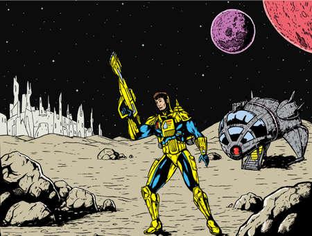 Spaceman met een vreemde achtergrond.