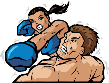 boxer: Cartoon of a female boxer knocking out the guy