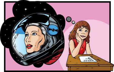 fantasizing: Girl dreaming of being an astronaut Illustration
