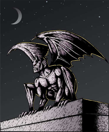 este: Gargoyle at night