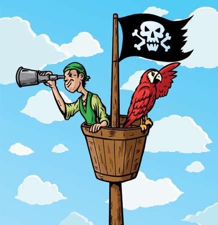 Cartoon Pirate Scout met papegaai op zoek. Deel van een serie.