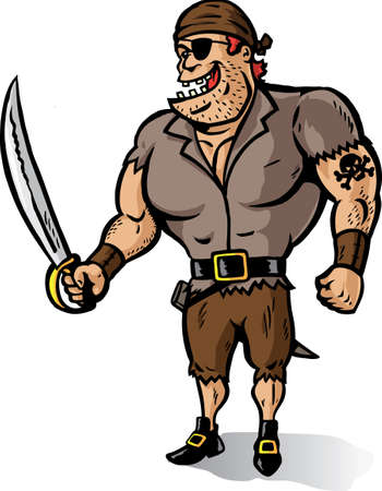 plunder: Cartoon of a Muscular Pirate ready to plunder. Part of a series