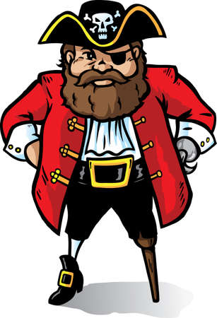 Cartoon Pirate Captain looking very angry. Part of a series. Vector
