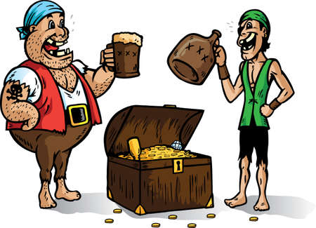 Twee piraten vrolijkheid voor hun booty. Bij een reeks hoort Stock Illustratie