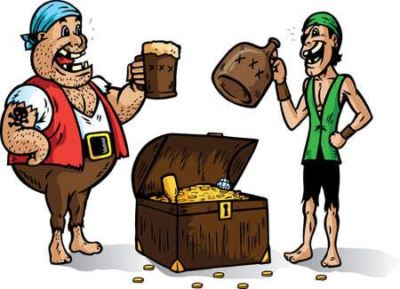 Zwei Piraten Jubel für ihre Beute. Teil einer Serie Standard-Bild - 6384107