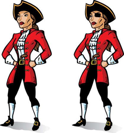 mujer pirata: Pirata de dibujos animados mirando muy severo. Parte de una serie.