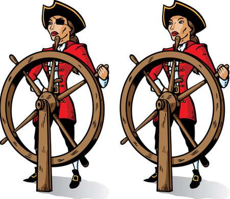 mujer pirata: Pirata de dibujos animados en el tim�n. Parte de una serie.  Vectores