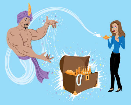 Genie granting wish of wealth to girl. Ilustração