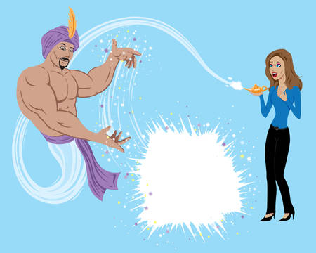 granting: Genie granting wish to girl.  Anything can be put in the explosion box.