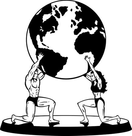 Male and Female Atlas supporting the world in simple Black and White Ilustração
