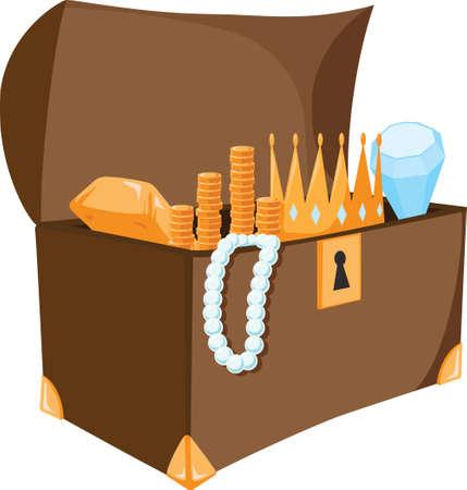 보물 상자는 금, 다이아몬드 및 진주로 가득합니다. 일러스트