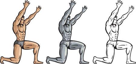 Muscular man holding something up  Иллюстрация