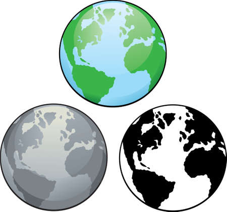 Different drawings of planet earth, from colour to black and white.  向量圖像