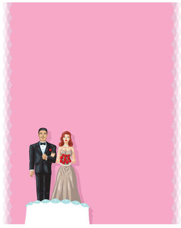 Bride and groom figurines on wedding cake, can be used for invitations.