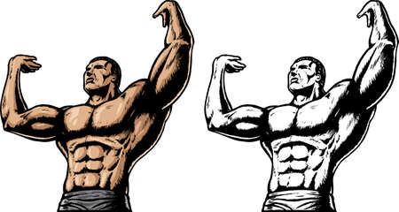 trizeps: Muscular Man h�lt etwas Illustration